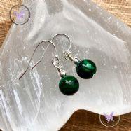 Classical Malachite Silver Earrings